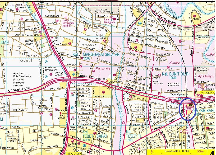 Peta Lokasi Stasiun kereta Api Tebet