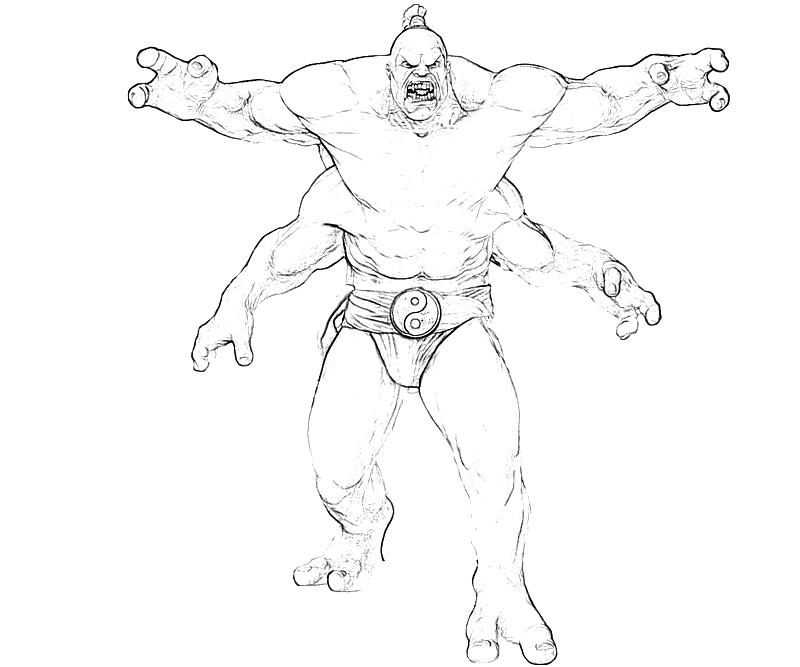 Printable Mortal Combat Goro Ladder Power Coloring Pages