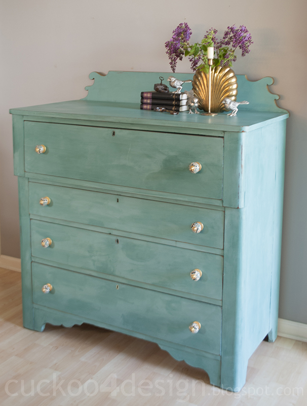 blue green turquoise chalk paint country dresser