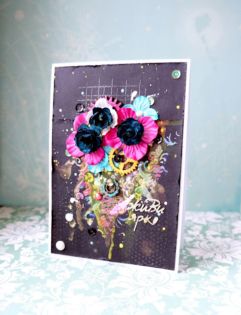 Card mixed media, black background and bright flowers.