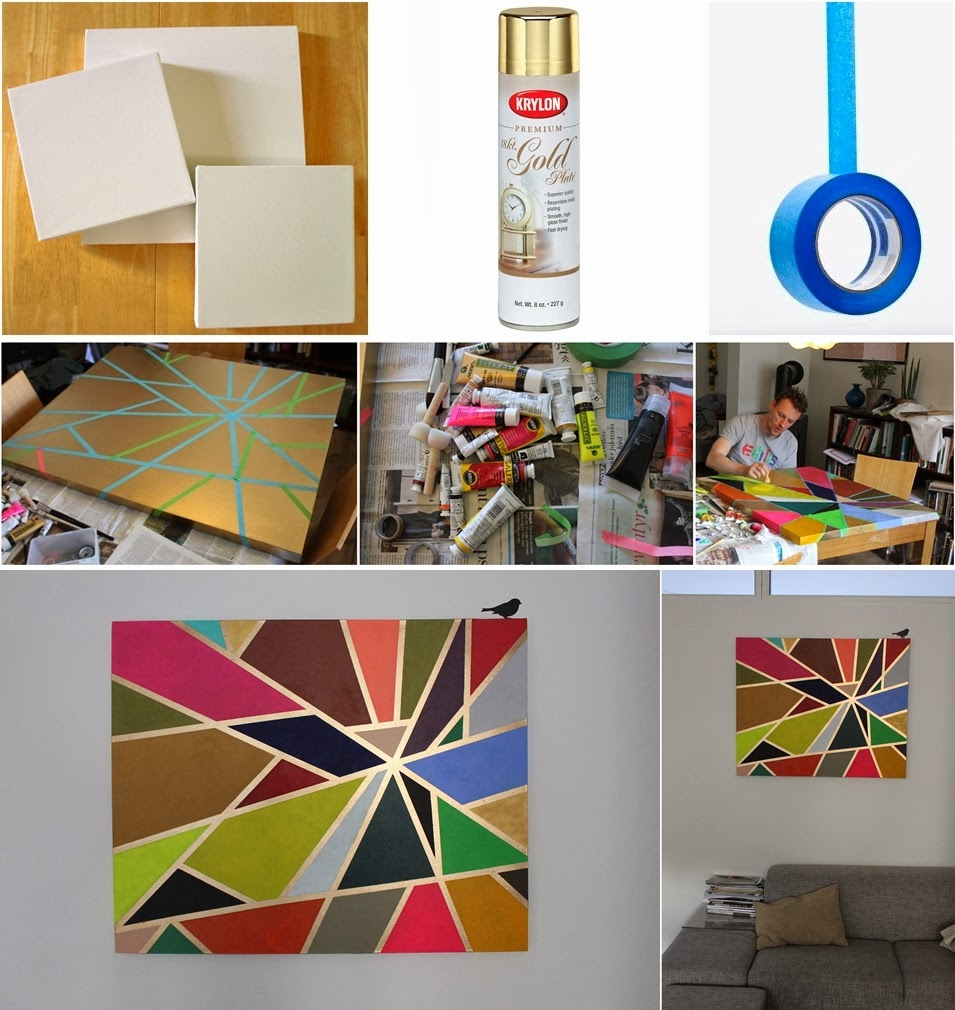 Diy tape painting on canvas diy craft projects for Diy paint