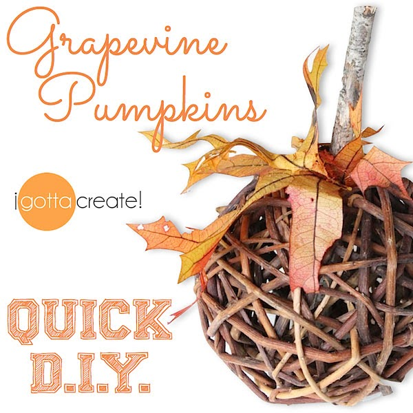 Quick DIY Pumpkins. How to make a pumpkin from a grapevine ball in 3 easy steps. | Tutorial at I Gotta Create!