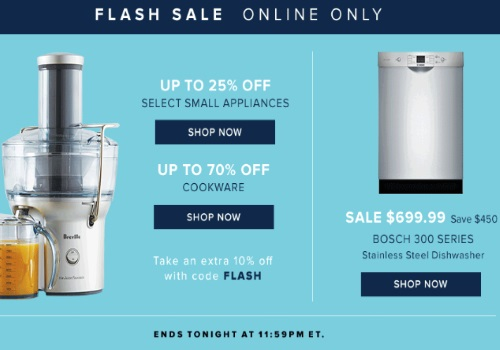 Hudson's Bay Flash Sale Up To 25% Off Small Appliances, 70% Off Cookware + Extra 10% Off Promo Code