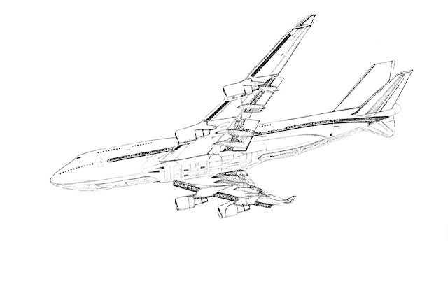sketch of passenger jet
