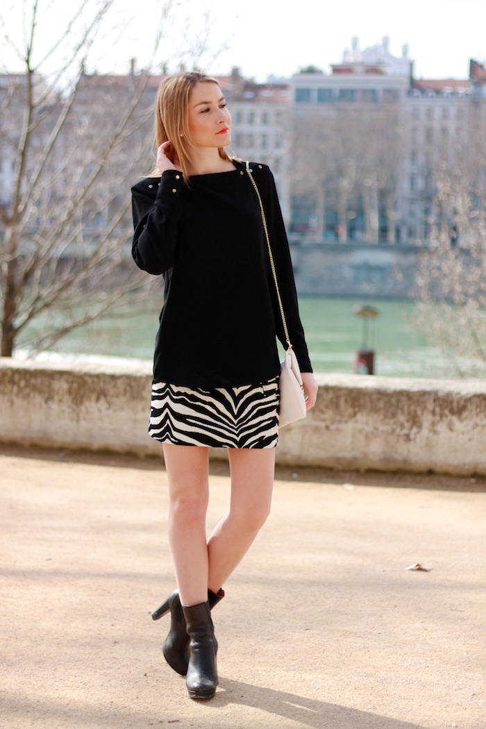 animal print skirt zara