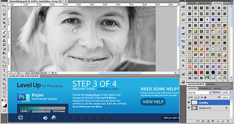 Remove wrinkles in LevelUp for Photoshop