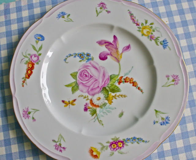 hand painted porcelain, china , dinner plate