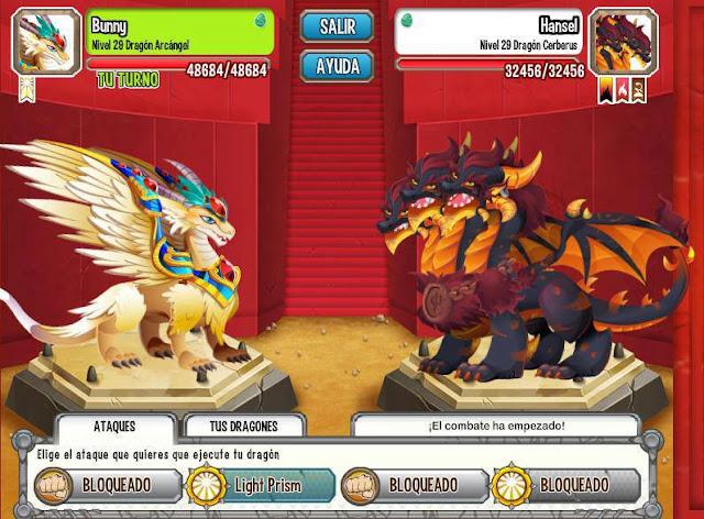 imagen de la batalla entre el dragon arcangel y el dragon ceberus