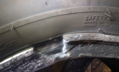 Broken alloy wheel and car tyre