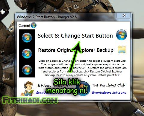 start button windows 7 tukar change