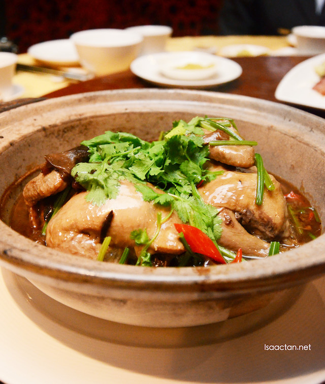 Braised Spring Chicken Stuffed with Glutinous Rice, Garlic, Ginger and Straw Mushroom