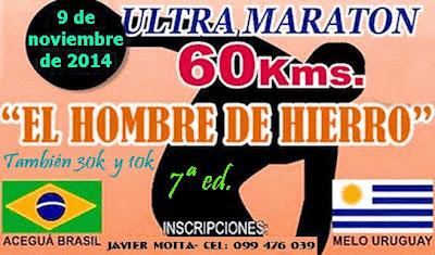 Ultramaratón 60k Aceguá a Melo (también 10k y 30k; 09/nov/2014)