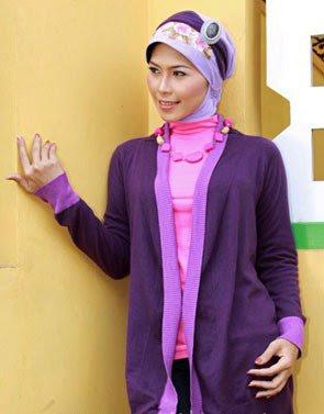 Zenitha Koleksi Cardigan Rajut ungu tua ungu muda