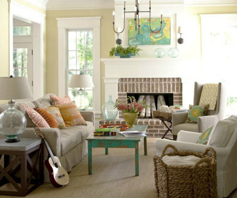 coastal slipcover sofa and chairs with painted cottage pieces in living room