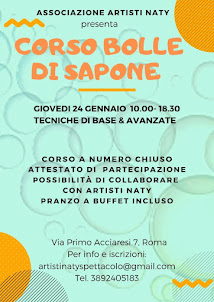 CORSO BOLLE DI SAPONE, GIOVEDI 24 GENNAIO 2019