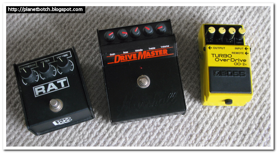 Distortion stomp boxes: Rat 2 with Marshall DriveMaster and Boss OD-2R