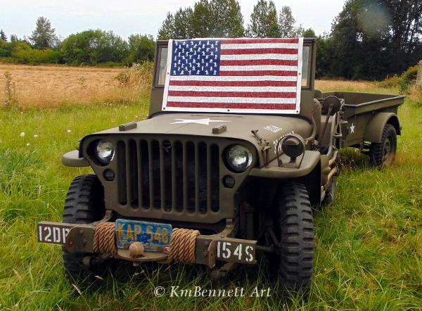 Flag painting on jeep