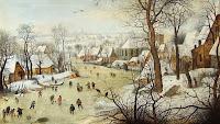 "Питер Брейгель Младший, 1565 г. ""Зимний пейзаж с конькобежцами и ловушкой для птиц""."