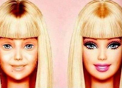 barbie sin maquillaje, el maquillaje hace milagros