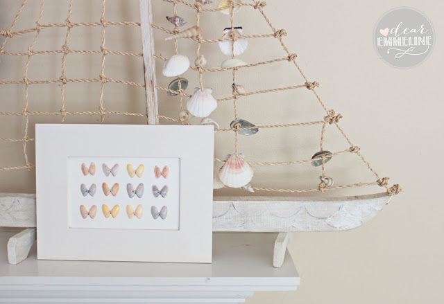 Beautiful beach styled seashell butterfly specimen art, by Dear Emmeline featured on I Love That Junk