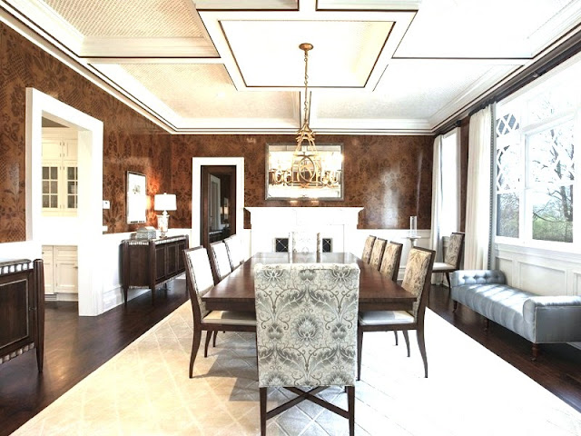 Dining room Hamptons mansion Water Mill estate glossy wallpaper coffered ceiling