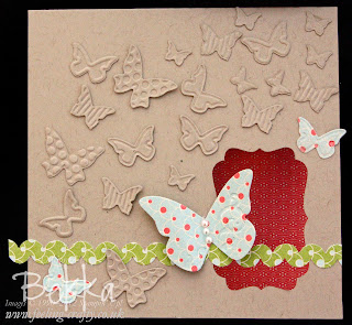 Butterfly Card with Ric Rac Made with a Stampin' Up! Scallop Edge Punch