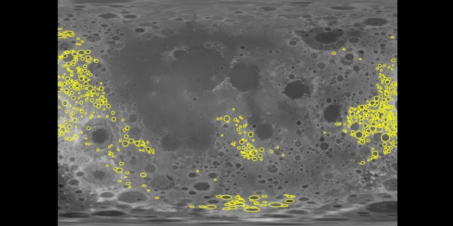 Researchers analyzed the gravity signatures of more than 1,200 craters (in yellow) on the far side of the moon. Courtesy of the researchers