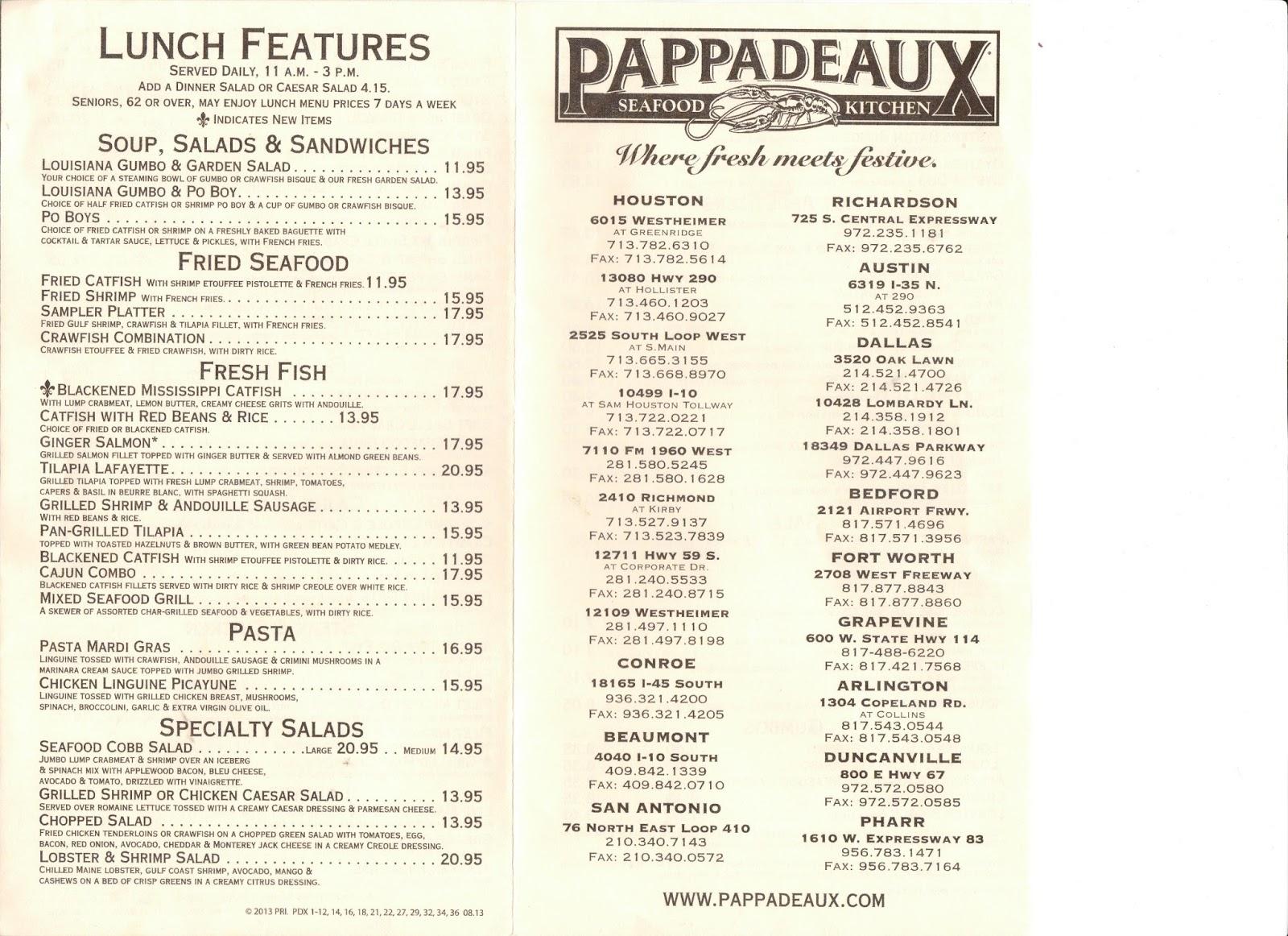 VC Menu: Pappadeaux Seafood Kitchen - Houston TX