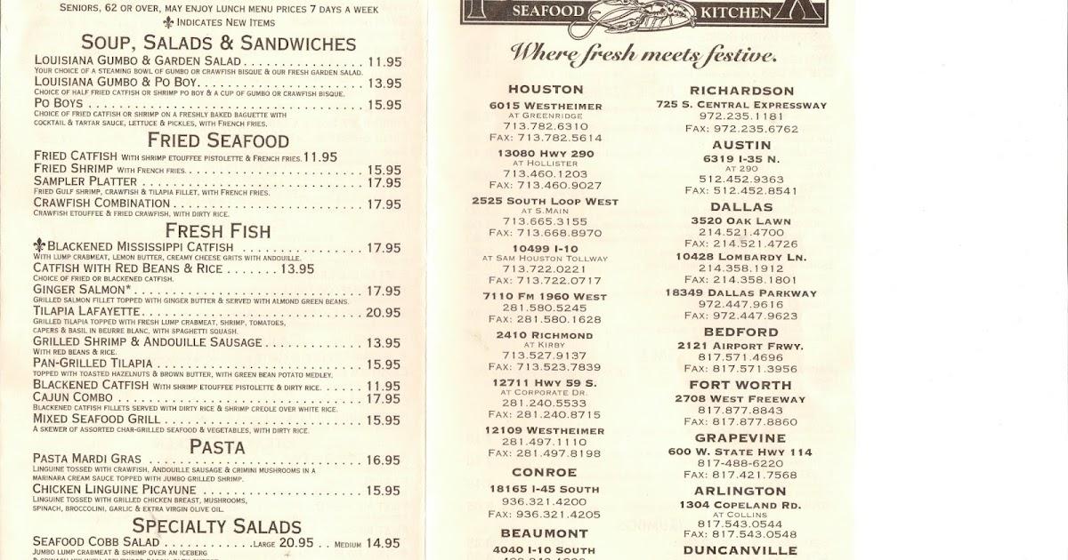 Vc menu pappadeaux seafood kitchen houston tx for W kitchen verbier menu