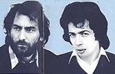 Dominique Perrier y Roger Rizzitelli retratados en la carpeta interior del LP de Bahamas, Le Voyageur Immobile de 1976, antes de la formación de Space Art
