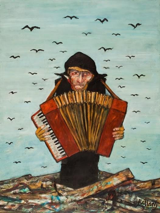 John Bellany, The Accordionist, oil on harboard, Mctears, Auctions