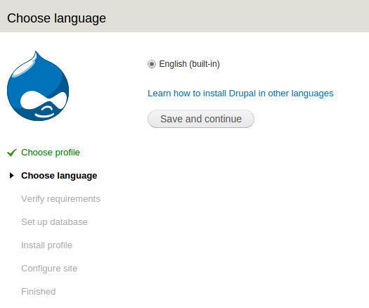 instal drupal step-2 pilih bahasa