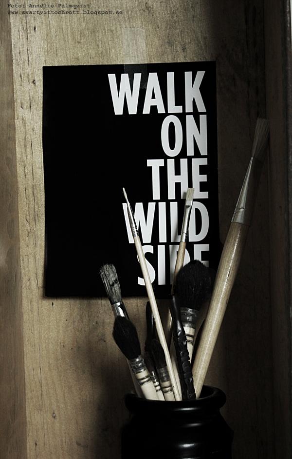 svart och vitt, svartvit, svartvita, utklipp, penslar, inredning, blogg