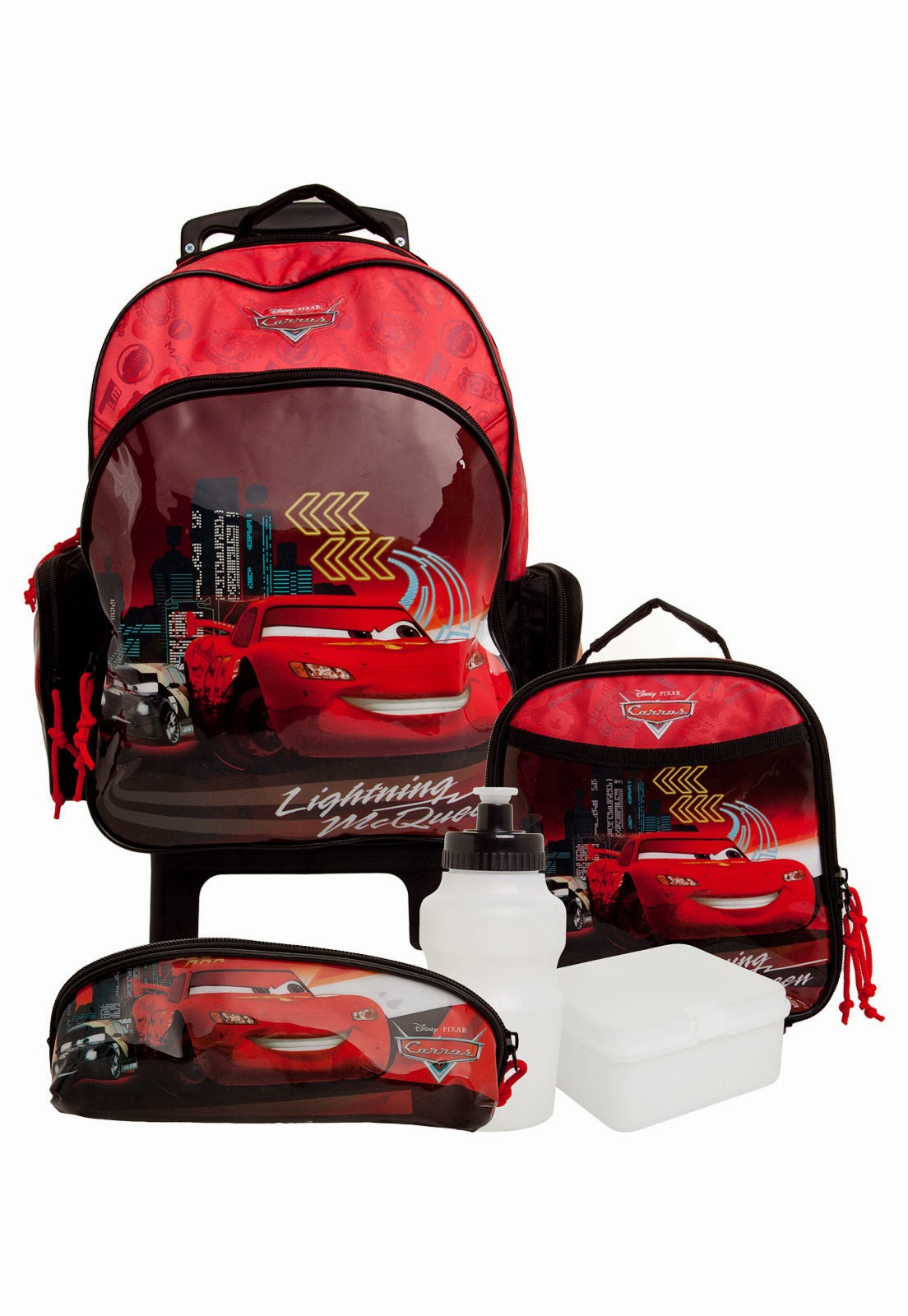 Kit mochilas Volta ás Aulas personagens Carros McQueen vermelho