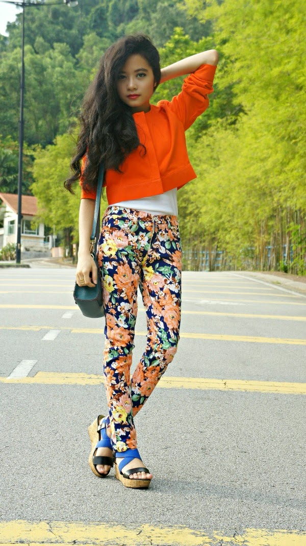 Go Bright!, SEA Citizen The Cropped Jacket Tangerine, F.O.S Tank Top, Hot Base Floral Pants, Vincci Platform Wedges, Hush Puppies Sling Bag, Vincci Accessories Gold Rings, Summer, Summer Hairstyle, Loose Curls