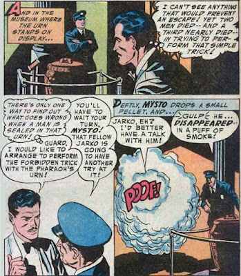 Detective 221 panels: stage magician-detective Mysto vanishes in a puff of smoke as he proceeds to new clues