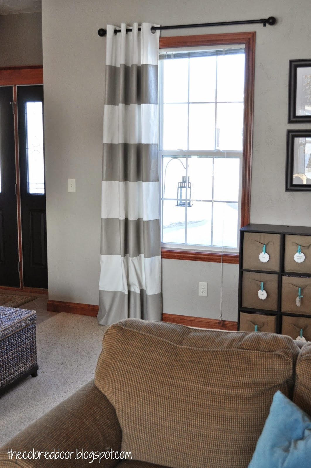 DIY painted drapes - the colored door