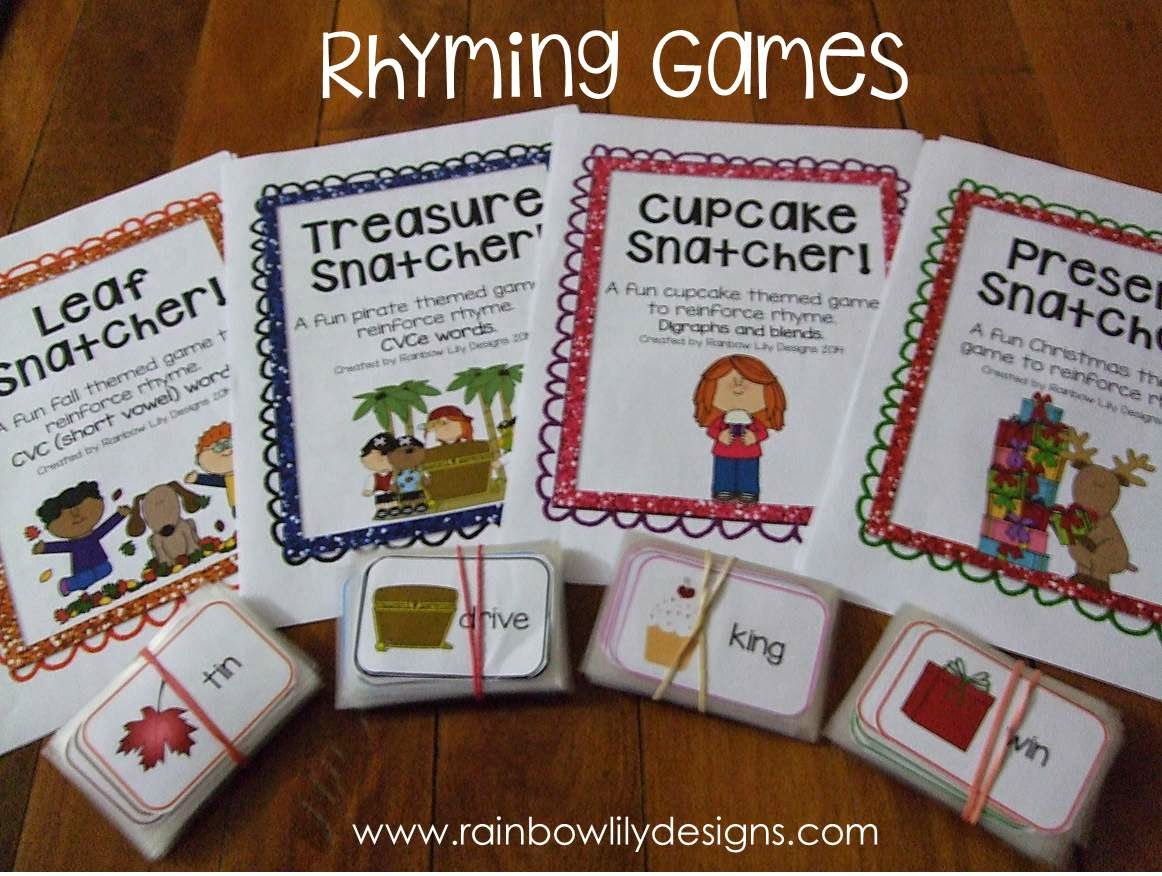 Fun Kindergarten Rhyming Games. #Rhyme #RainbowLilyDesigns #education