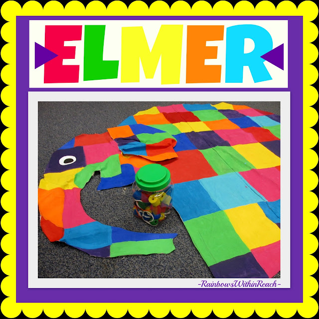 photo of: Elmer-the-Elephant Close-up (one-of-a-kind canvas painting) via RainbowsWithinReach