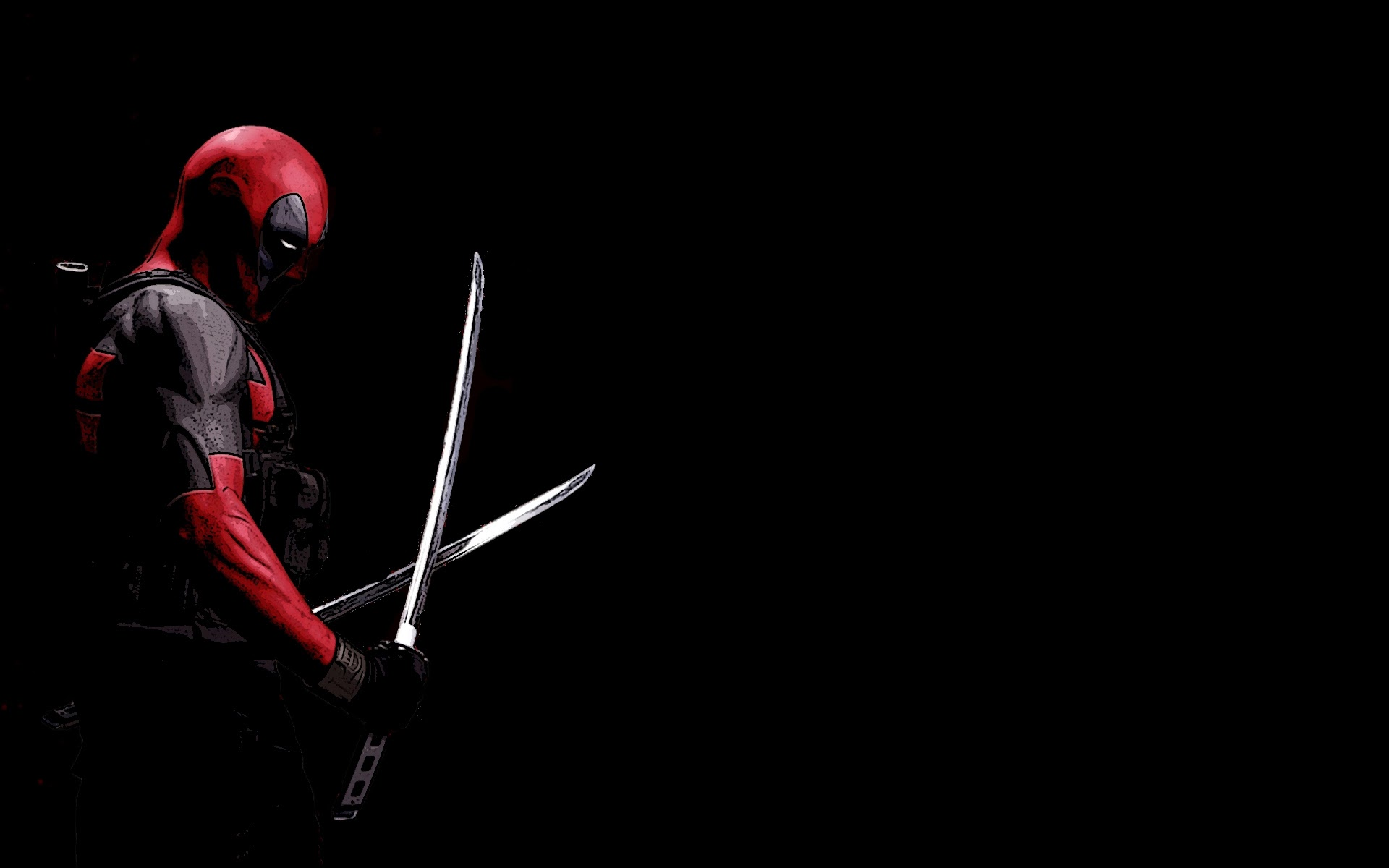 Deadpool Black Background Katana Marvel Comics HD Wallpaper 1920x1200    Deadpool Wallpaper Hd 1080p