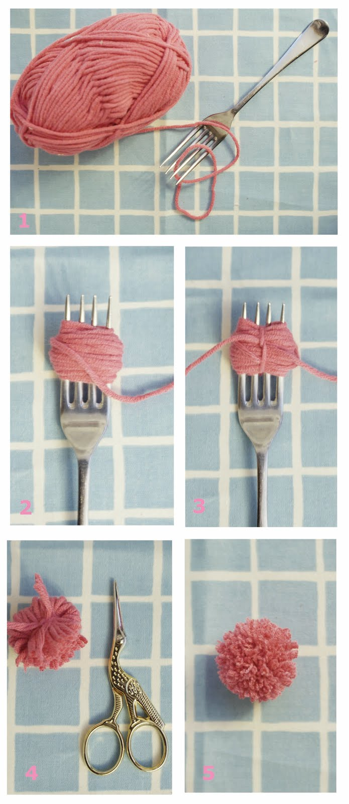 Vivid please diy how to make tiny pom poms with a fork for Crafts to make with pom poms