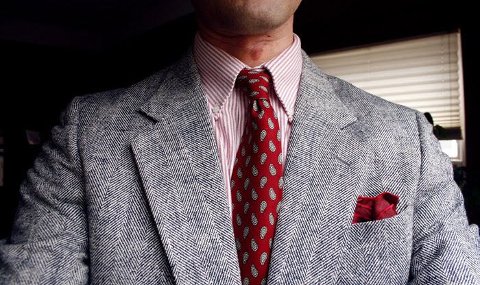 jacket, pocket square and tie