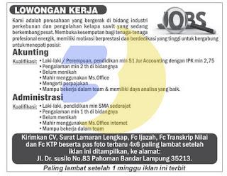 Lowongan Kerja Accounting dan Administrasi Juli 2015 terbaru di Lampung