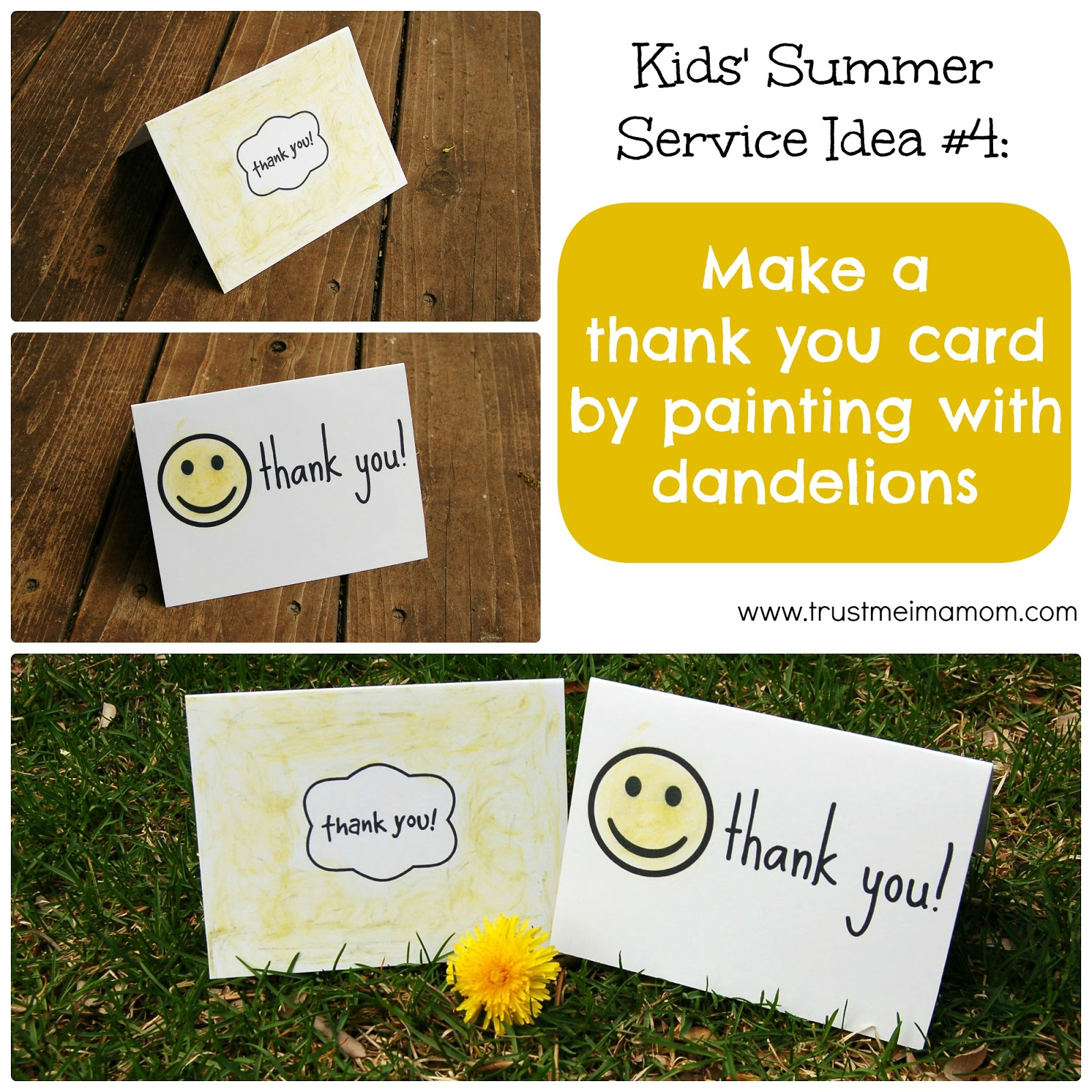 Fun Ways to Serve with Your Kids This Summer: Idea #4 - Make a card out of pressed flowers or painted with dandelions... cute & easy!