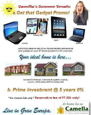 Free Galaxy Tab Gadget Camella House and Lot