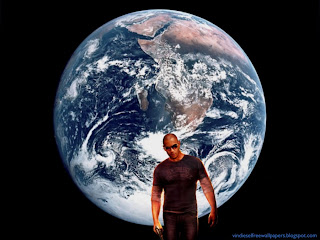 Desktop Wallpaper of Vin Diesel Wheelman the Movie in Planet Earth from Space Wallpaper