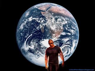 Desktop Wallpaper of Vin Diesel Wheelman the Movie in Planet Earth from Space Wallpaper