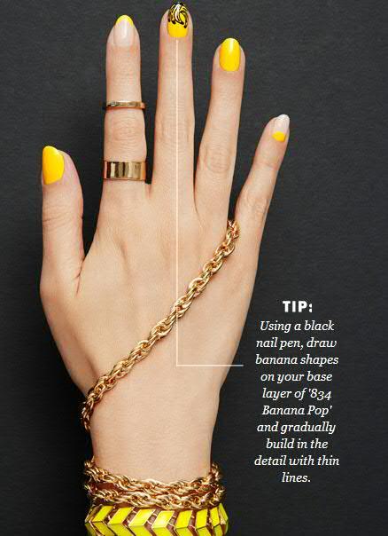 Banana Nail Art With Yellow Nail Paint Shade and Black Nail Art Pen