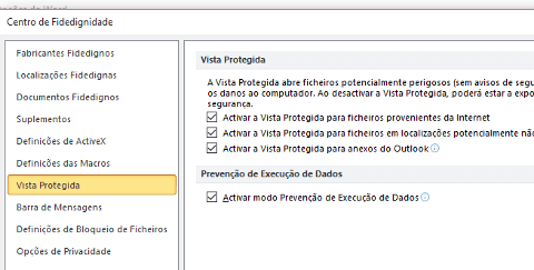 desactivar vista protegida do word