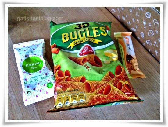 Kukimi Snack, Bugles Nacho Cheese Knuspersnack, MYLINE Vanille-Karamell Riegel